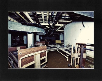 """Custom Matted Print 0308. Abandoned: Marlboro State Mental Hospital, NJ. """"Beds in Basement"""" - Collectable Photographic Artwork. (11"""" x 14"""")"""