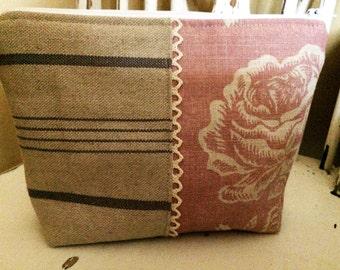 Handmade Bag Cosmetics Toiletry Make Up, Kate Forman Delilah Linen Pink and Grey