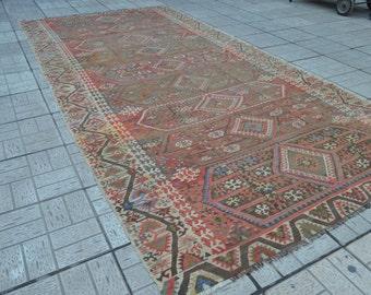 12.7 x 6.2 feet. Vintage kilim rug. Large Turkish kilim rug. Turkish kilim. Rug. Free shipping.