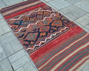 Vintage Kilim. Blue accent kilim. Turkish kilim rug. Vintage rug. Small kilim. Free shipping. 5.7 x 3 feet.
