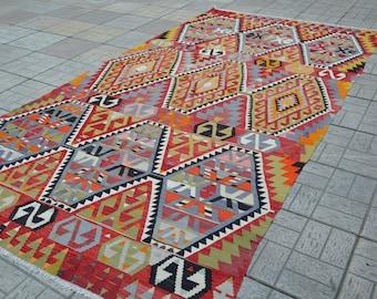Large vintage kilim rug. Turkish kilim rug. Vintage kilims. Turkish rug. Free shipping. 10.9 x 5.8 feet.