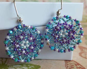 Beautiful Turquoise and Purple  Handmade Beaded Earrings. Great for everyday use, holiday jewelry or any special occasion!!
