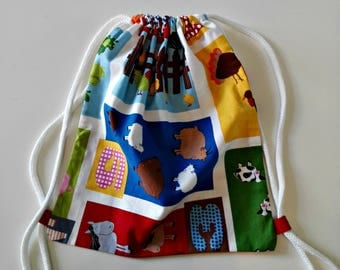 """Backpack """"Farm"""" daycare for children fun snack in printed cotton bag with cords to carry food bag"""