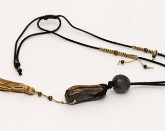 Handmade, ceramic pendant, with silk tassel & silver-plated elements