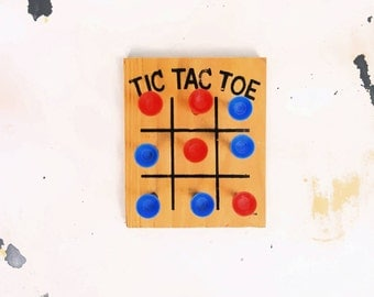 Vintage Wooden Peg Tic Tac Game