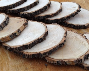 """12 Pine Wood Slices 3 1/2"""" to 4 1/2 """", 5/16"""" Thick, Logs-Wood Slice-Log Slice-Craft Supplies-Woodland-Rustic-Home-Cabin Decor-Holiday Decor"""