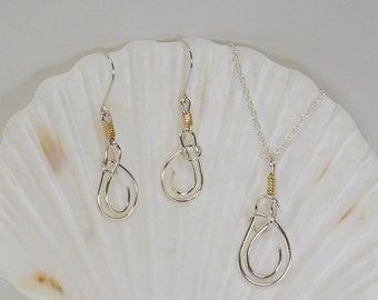 Sterling Silver Knot Pendant and Earrings Set with 14k Solid Gold Accent