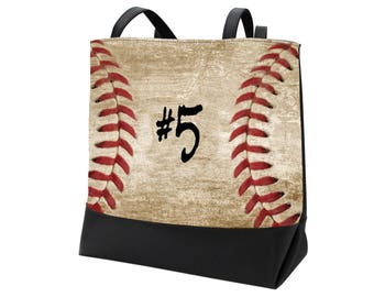 Baseball Tote for Baseball Mom, Baseball Mom Bag, Baseball Swag, Baseball Shoulder Bag, Baseball Carryall Bag