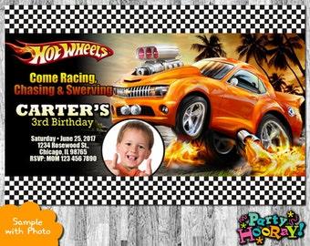 Hot Wheels Invitation, Hot Wheels Birthday Invitation, Hot Wheels Cars, Printable Invitation, Hot Wheels Invites, Hot Wheels Party, Photo