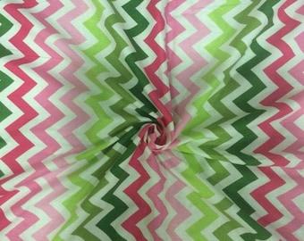 Robert Kaufman. Designer Cotton. Pink and Green Chevron. 1.20 meter Remnant. 44 inches Width