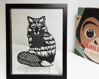 "Papercut handcutted black fox. Floating frame 7"" x 9.8"""
