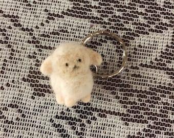 Felted Lamb Keychain