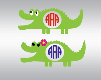 Alligator crocodile monogram  SVG Clipart Cut Files Silhouette Cameo Svg for Cricut and Vinyl File cutting Digital cuts file DXF Png Pdf Eps