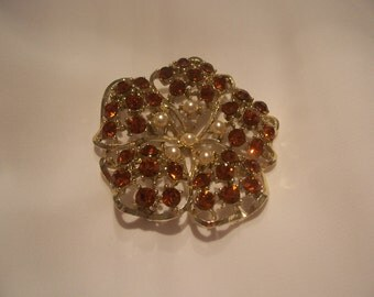 Red Rhinestone and Pearl Brooch