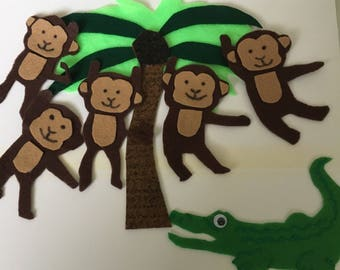 Five Little Monkeys Swinging in the Tree - Childrens Felt/Flannel Board Story