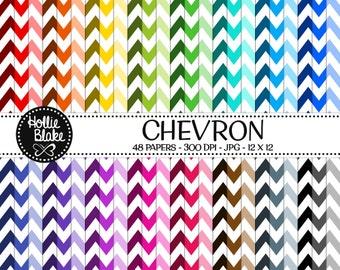 50% off SALE!! 48 Chevron Digital Paper • Rainbow Digital Paper • Commercial Use • Instant Download • #CHEVRON-107