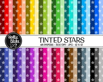 Buy 1 Get 1 Free!! 48 Tinted Stars Digital Paper • Rainbow Digital Paper • Commercial Use • Instant Download • #STARS-101-2-TINT