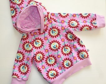 Hoodie with hood size 68 Babyhoodie with owls