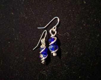 Blue Crystal sterling silver swirl earrings