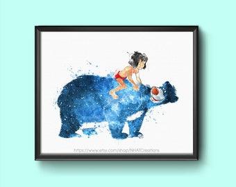 Sale off Fan art Jungle book baloo and mowgli watercolor art print digital file 03
