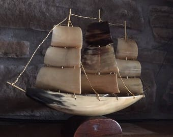 Vintage Cow Horn sailboat. Decorative sailboat made from Cows horn. Seaside decor. Sailing decor.