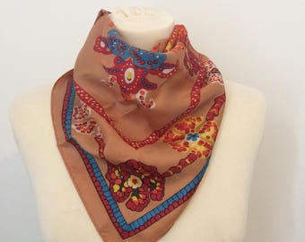 Beautiful vintage peach orange and blue scarf