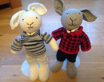 Hand made knitted rabbit