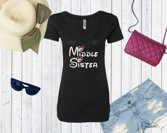 Middle Sister Disney Inspired V neck Tshirt / Disney Day Tshirt / Princess Tee