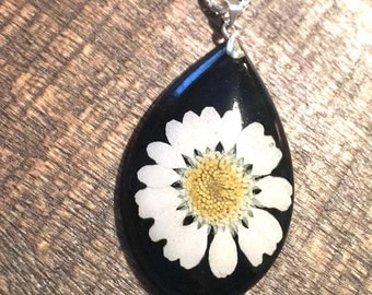 Black Daisy Pendant, resin jewelry, dried flower jewelry, organic jewelry, pressed flower jewelry.