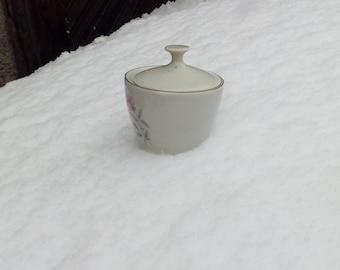 Vintage Porcelain Sugar Bowl, Sugar Bowl With Lid, VIntage Porcelain, White Porcelain.