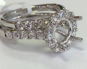 Semi mount 14k halo diamond wedding set