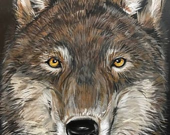 Wolf on Canvas   50% of your purchase goes to charity.
