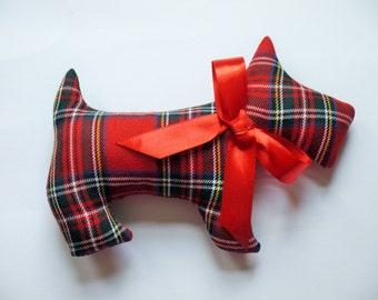 Lavender Scented Scottish Royal Stewart Tartan Scottie Dog. Birthday gift. Plaid. Scented sachet, Scottish gift. Mother's Day Gift.