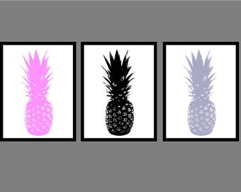 Pineapple Print // Wall Art // Decor // Home // Living Room // A4 // A5 // Typography