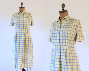 Vintage 1950s yellow and gray plaid shirtdress | 50s plaid shirtwaist with full skirt | 1950's cotton day dress | 50's fit and flare | L
