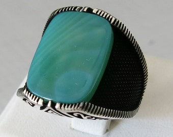 Handmade 925 Sterling Silver Authentic Natural Agate Stone Men's RING B55