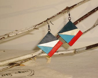 Earrings leather full-grain lamb blue red and gold