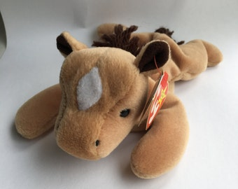 Derby TY Beanie Baby - 1995 - White Spot - Course Mane - Horse