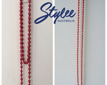 Red Coral Beads Long Necklace
