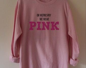 On Wednesday we wear pink Sweatshirt,S-XXL Ladies Sweatshirt, Sweatshirt, Slouchy Sweatshirt, Wide Neck Sweatshirt, Fun Sweatshirt