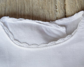 Vintage / baby / bra / France / fine cotton and lace / white