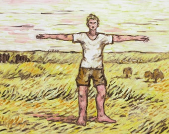 Original oil painting , man in open fields, serenity painting, yellow painting,