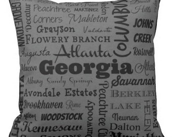 Georgia cities pillow - GA typography throw pillow - red or gray decorative pillow - Ga. gift - cushion