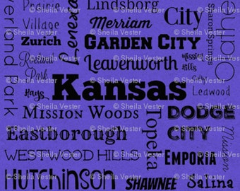 Kansas Cities fabric - by the yard - purple and black - gray and black