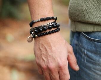 mans Bracelets Set, Beaded bracelets Men jewellery, Black bracelets, Beaded Bracelet, Mens Bracelet,  black bracelet gemstone, gift for mens