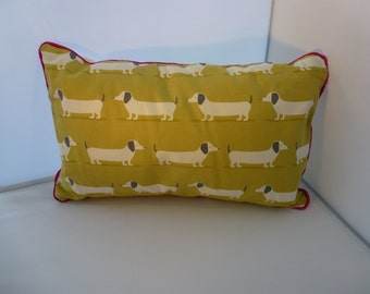 Colourful Daschund Cushion with Contrast Piping