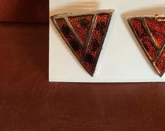 Orange, black and copper Triangular earrings