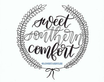 "Sweet Southern Comfort 12"" x 12"" Vinyl Wall Decal"