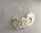 Ivory Birdcage Veil, Vintage Lace, Bridal Headpiece, Off White Birdcage Veil, Ivory Bride Fascinator, Handmade Veil, Sweep Veil, Alice Band