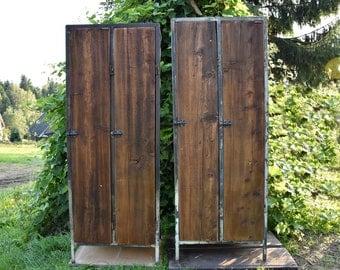 Industrial Vintage French Metal Cabinet cupboard Lockers Reclaimed Industrial loft double door Wardrobe cabinet steel